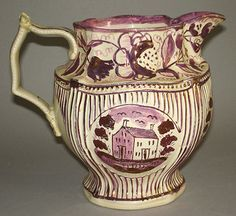 "PINK LUSTRE PITCHER  ""HOUSE"" PATTERN  STAFFORDSHIRE 1810-1820"