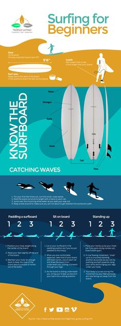 Surfing tips for beginners. A Colorful Surfing Infographic! Surfing tips for beginners. A Colorful Surfing Infographic! Surfing Tips, Water Surfing, Surfing Quotes, Sup Surf, California Surf, Learn To Surf, Surfs Up, Wakeboarding, Longboarding