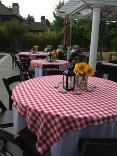 Checkered Table Cloths And Simple Cute Centerpiece But With Black Rounds  Under The Red And Red