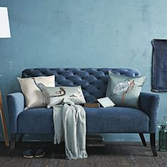 I have no idea why, but I absolutely adore this settee from West Elm in this blue color.