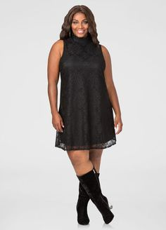 Lace Mock Neck Floater Dress Lace Mock Neck Floater Dress