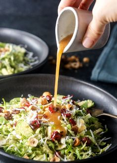Shredded Brussels Sprouts Salad. A beautiful salad to serve at Thanksgiving, loaded with colorful dried cranberries, toasted hazelnuts, and a quick red wine vinaigrette. (Shared from Lexi's Clean Kitchen Cookbook.)
