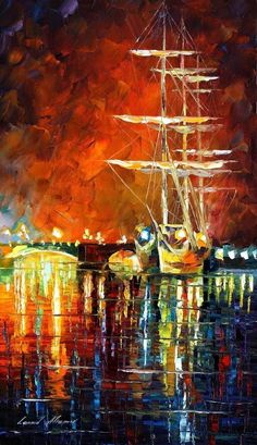 "BURNING SKY — Palette Knife Oil Painting On Canvas By Leonid Afremov 15""x25"" #Impressionism"