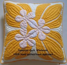 """Hawaiian Quilt Handmade Cushions 100 Hand Quilted Applique 2 Pillow Covers 18""""   eBay"""