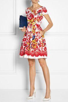 Oscar de la Renta | Printed stretch-cotton dress | NET-A-PORTER.COM