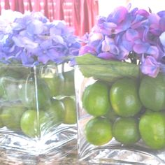 DIY wedding centerpieces made with limes and hydrangeas