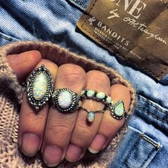 Navajo Opals and One Teaspoon Bandits Rings available at www.indieandharper.com Funky Jewelry, Boho Jewelry, Jewelry Box, Jewelery, Alternative Fashion, Alternative Style, Indie And Harper, Do It Yourself Jewelry, Types Of Opals