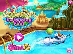 Popularny bałwanek z Krainy Lodu wybiera się na basen przy zamku. Zadbaj o to by bałwanek nie roztopił się w wodzie, a spędził świetnie czas na materacu!  http://www.ubieranki.eu/gry/3920/ciepla-kapiel-olafa.html