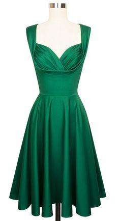 Trashy Diva Honey Dress | Vintage-Inspired Dress | Green Cotton Stretch