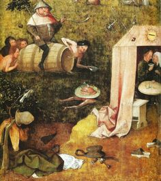 Hieronymus Bosch, Alegoría de la lujuria y la gula, hacia 1494 o posterior. Óleo sobre tabla, 3,8x32cm (parte inferior cortada de la nave de los locos) New Haven, Yale University Art Gallery.