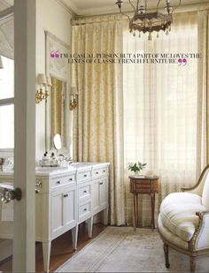 The master bath of the Charlotte, NC home in April 2012 edition of Veranda Magazine. Interiors by Jane Schwab of Circa Interiors, Renovation by Meyer Greeson Paullin Benson Architectural & Design Firm