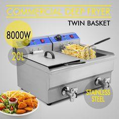 20L Commercial Electric Deep Fryer Timer Drain Countertop 8000W Restaurant