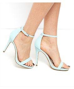 Mint Green Leather Ankle Strap Heels | New Look
