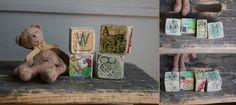 Oude bouw puzzel alfabet blokjes speelgoed brocante kraamcadeau