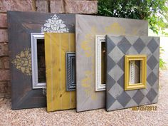 Items similar to Grouping of Four Distressed Picture Frames, Two Two on Etsy Distressed Picture Frames, Picture Frame Decor, Painted Picture Frames, Upcycled Home Decor, Diy Home Decor, Painting Frames, Painting On Wood, Cardboard Picture Frames, Ikea Mirror