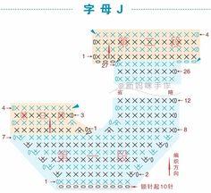 Häkelfieber: ABC zum Spielen: Buchstabe J Crochet Letters Pattern, Crochet Alphabet, Letter Patterns, Crochet Patterns, Crochet Wool, Love Crochet, Crochet Baby, Crochet Diagram, Crochet Motif