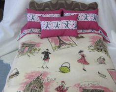 "Cute 5 Piece American Girl 18"" Doll Bedding Paris Theme 3 Pillows Bedspread Top Sheet"