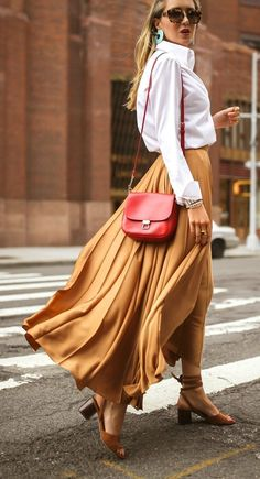 22e73bb3caa The trend that never crimps your style    Chestnut crepe de chine pleated  maxi skirt