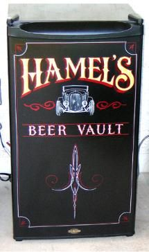 Hand painted, hand lettered, gold leafed, and pinstriped mini fridge makes the perfect addition to your garage or home!   LN SIGNS  We custom make signs to order and ship anywhere in the US!  352-304-7355 Ocala, FL  34481  www.LNSigns.com