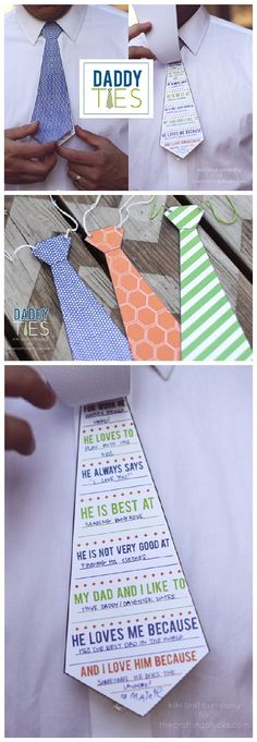 Fathers Day DIY Cards FREE Printables - Daddy and Grandpa Ties - Cute Questionnaire for the Kids to Fill out for Dad this year from kiki and company