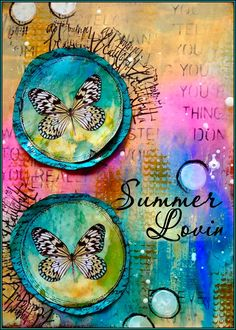Summertime represents for me Sun Water and Sand.  The colors green/blue/teal made me think about the water of a cool mountain lake,  the yellow color looks like rocks and sand under the sun and the  pink color stands for al the lovely summer flowers who are growing in the fields. By: http://karins-cardsandthings.blogspot.nl