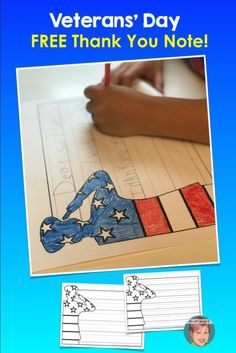 Patriotic Art Project for kids Veterans' Day FREEBIE - Thank you note paper. Get this freebie when you join my email list! Patriotic Art Project for kids Veterans' Day FREEBIE - Thank you note paper. Get this freebie when you join my email list! Veterans Day For Kids, Free Veterans Day, Veterans Day Thank You, Veterans Day Activities, Activities For Kids, Crafts For Kids, Fall Crafts, Holiday Crafts, Service Projects For Kids