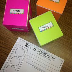 The roll-a-sentence pin is a great activity for a reading/writing center.  Each dice will either have six nouns, six adjectives, or six verbs and the students will create a sentence using the words they rolled.  Working in pairs, students can expand on their sentences and create paragraphs.  This activity can also be used as a math activity.