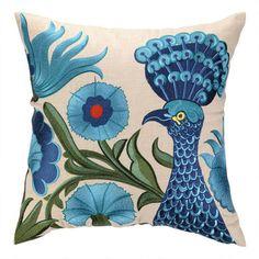 Blue Peacock Flower Pillow