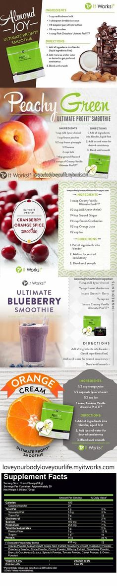Love your body Love you life It Works: Profit shake recipe YUM! IT's so good!  I got mine at http://sierrabeardspa.myitworks.com