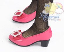 Rhombus Rhinestone Bow Low Heel Pumps Shoes Pt Rose for SD Girl Dollfie BJD doll