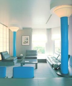 Best Ideas For Modern Interiors Design : – Picture : – Description Custom lighting towers take center stage in this living area. via ettoresottsass- living, interior Retro Interior Design, Interior Styling, Custom Lighting, Modern Lighting, Living Area, Living Spaces, Living Room, Interior Architecture, Interior And Exterior