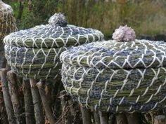 lavender baskets- haven't seen anything like these before. great way to use stems when pruning. https://www.dkbrowncreations.com