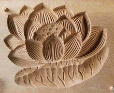 Japanese Antique Kashigata Lotus Flower Leaf w Cover Carved Wooden Cake Mold | eBay