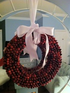 cranberry wreath from a martha stewart diy tutorial
