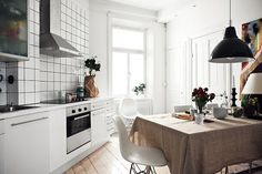White and grey Stockholm apartment