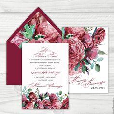 """Купить Приглашение на свадьбу """"Цветы Марсала"""" - бордовый, приглашения на свадьбу, пригласительный, пригласительные открытки, приглашение"""