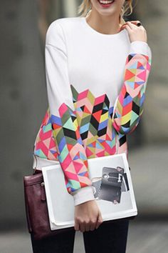 Colorful Argyle Print Long Sleeve Sweatshirt