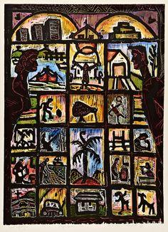 Nigel Brown Kiwi Lifestyle (1990) Hand-coloured woodcut  900 x 660mm Element: Line, Size, Colour, Pattern Principle: Value, Unity, Rhythm