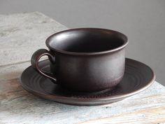 Hoganas Keramik Sweden Vintage deep brown Cup/ Saucer Scandinavian Design Stoneware