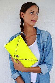 Fluo yellow leather clutch / Handmade leather bag / Italian high quality cow leather on Etsy, US$98,00