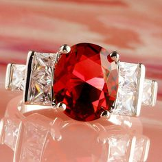 G095: Ruby Spinel and White Topaz Silver Ring, Size 8, Lab created stones