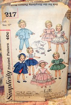 Cute Doll Clothes Pattern! 1950s Simplicity 3217 Vintage SHIRLEY TEMPLE Doll by EtsyFranstuff, $12.50
