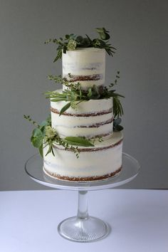 Simple, Semi-Naked Herb Wedding Cake by Yolk. www.cakesbyyolk.com