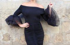 Little black dress/ Black midi dress/ Cocktail dress/ Off the shoulder dress/ Evening dress/ Party dress/ bodycon midi dress/ Sexy dress