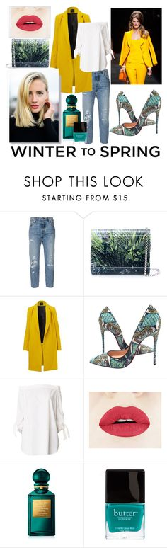 """winter to spring layers contest"" by juliamella on Polyvore featuring Levi's, Jimmy Choo, Moschino, Christian Louboutin, TIBI, Polaroid, Tom Ford and Butter London"