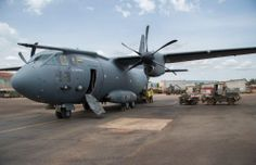 Lithuanian Air Force Alenia Aermacci C-27 Spartan transport aircraft transporting French troops for Operation Sangaris in the Central African Republic,to N'Djamena from Lyon Mont-Verdun, France, 7 April, 2014.