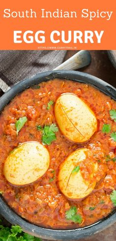 This south Indian spicy egg curry recipe is quick ever-day dinner or lunch recipe that you cook. It pairs well with rice or rotis(flatbread). It's super easy recipe and takes less than 30 minutes to get the curry from your stove to the dinner table. Indian Food Recipes, Asian Recipes, Vegetarian Recipes, Cooking Recipes, Ethnic Recipes, Kerala Recipes, Spicy Egg Curry Recipe, Masala Curry, Egg Masala