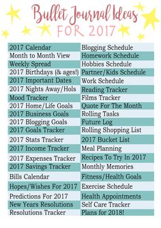 40 Bullet Journal Ideas For 2017 + Free Printable Of Ideas