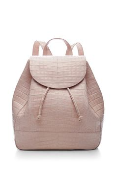 Blush Crocodile Skin Pouch by Nancy Gonzalez for Preorder on Moda Operandi