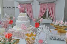 Vintage baptism party dessert table! See more party planning ideas at CatchMyParty.com!